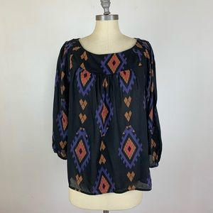 Lucky Brand Black Aztec Long Sleeve Top